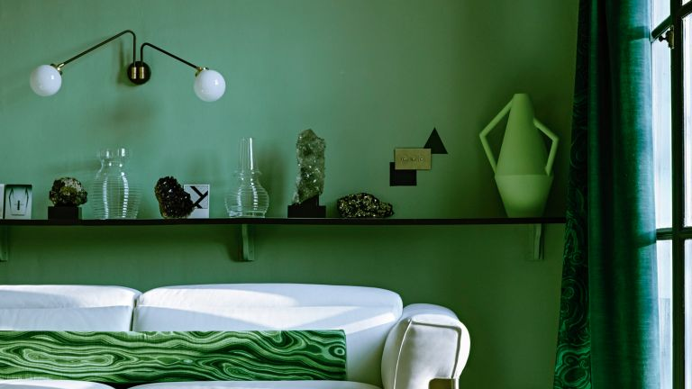 Green painted living room