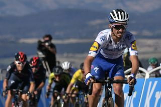 Team Deceuninck rider Frances Julian Alaphilippe rides ahead of the pack at the end of the 6th stage of the 107th edition of the Tour de France cycling race 191 km between Le Teil and Mont Aigoual on September 3 2020 Photo by Marco Bertorello AFP Photo by MARCO BERTORELLOAFP via Getty Images
