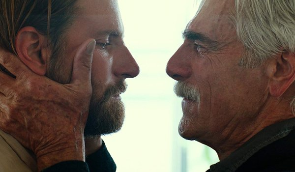 A Star Is Born Sam Elliot holds Bradley Cooper's face in his hands