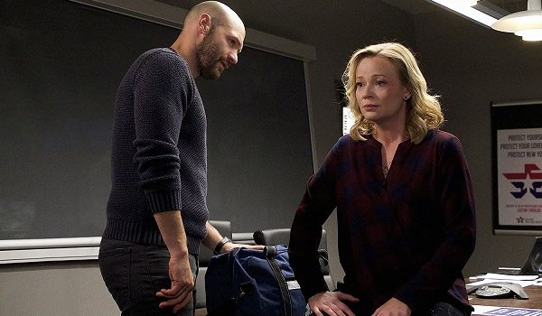 The Strain Corey Stoll Samantha Mathis having a discussion in the office