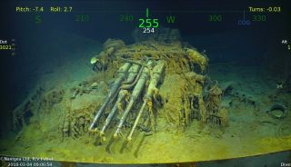 Here, one of the USS Lexington's anti-aircraft guns, discovered by Paul Allen's company.