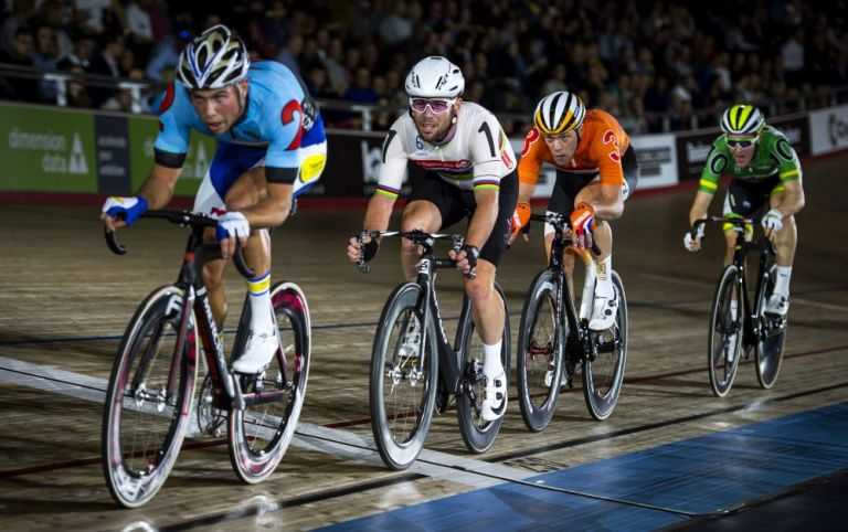 Mark Cavendish competing on day one of London Six Day. Photo by Justin Setterfield/Getty Images