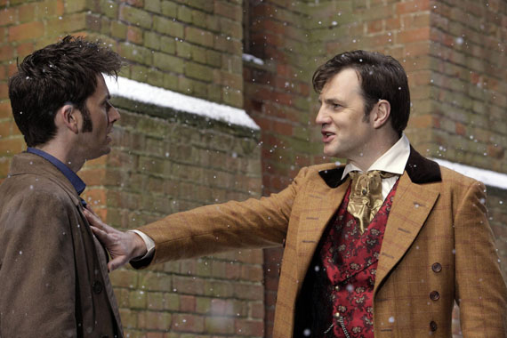 But they're quickly in character when they're called on. Watch The Next Doctor on BBC One on Christmas Day