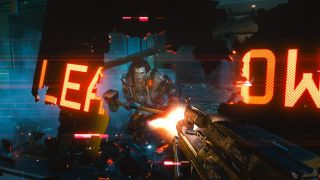 Cyberpunk 2077 boss fight scene of enemy breaking through LED sign