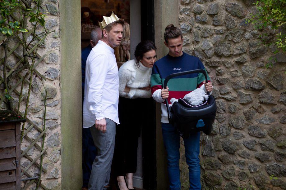 Jacob opens the door to find a baby on the doorstep in Emmerdale