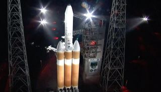 A United Launch Alliance Delta IV Heavy rocket stands poised to launch the NROL-44 spy satellite on Sept. 30, 2020. The attempted was aborted seven seconds before the planned liftoff.