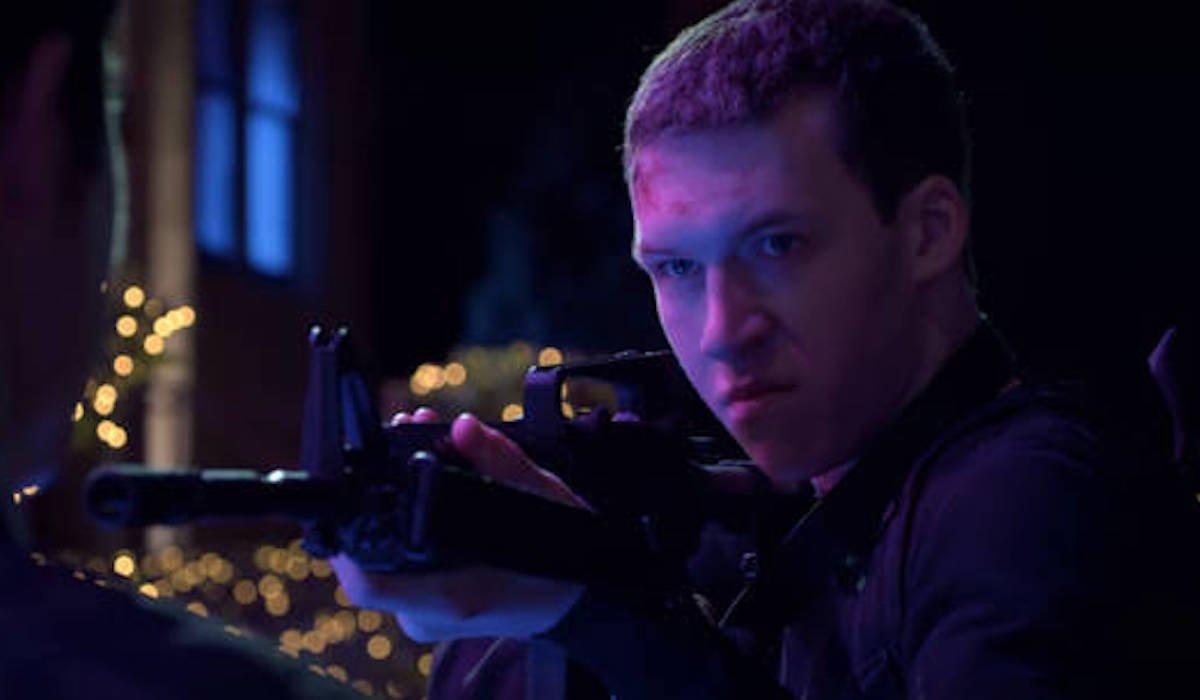 Devin Druid as Tyler Down in 13 Reasons Why Season 2 shooting scene