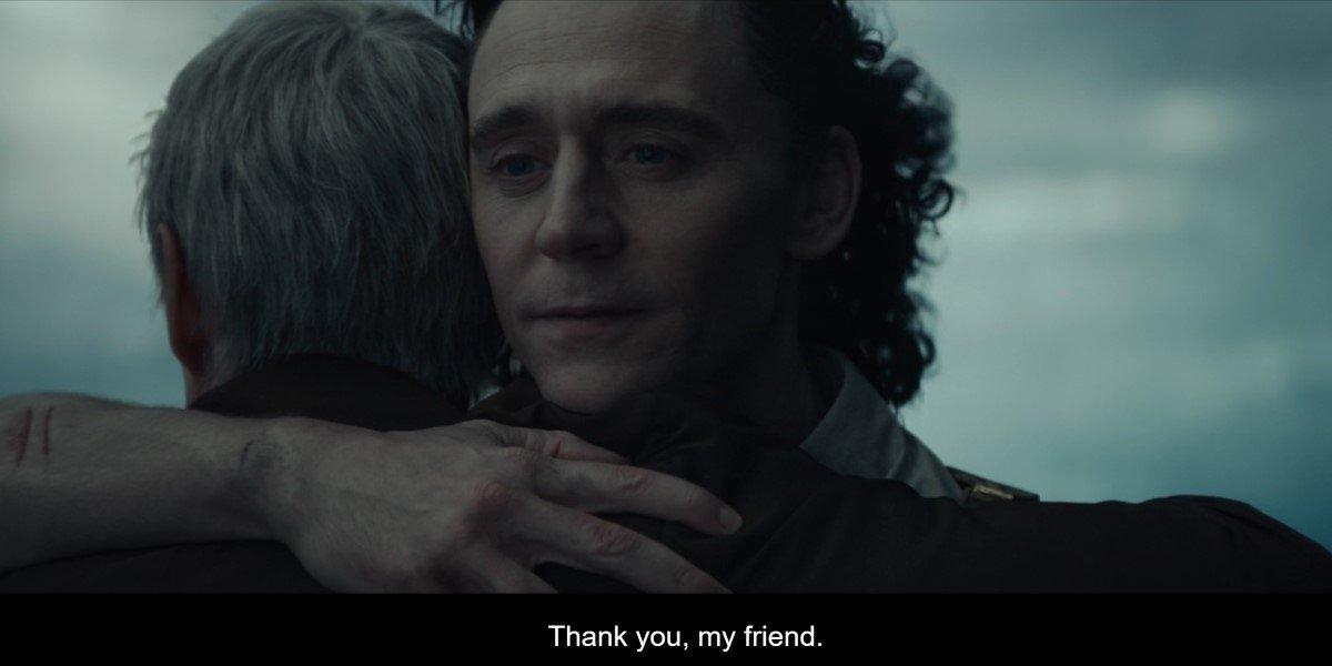 loki and mobius hugging in loki episode 5