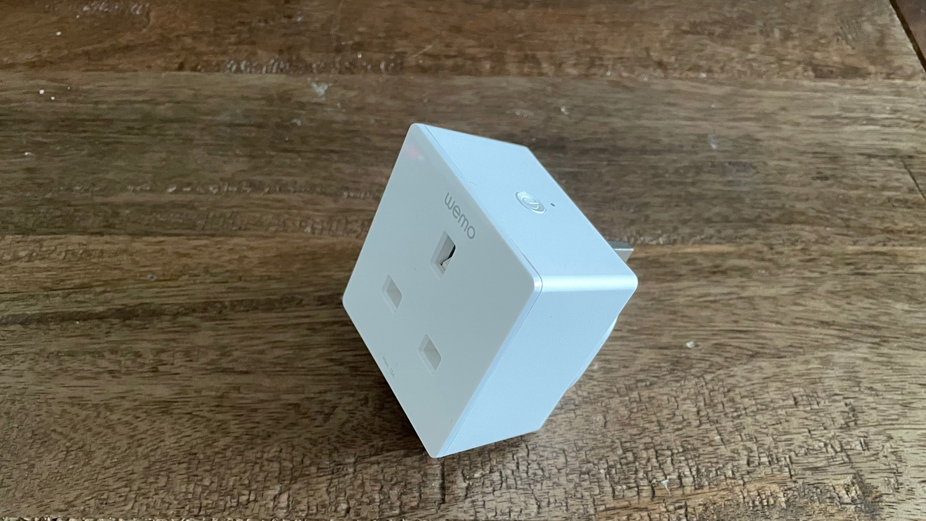 Wemo Wifi smart plug on a table