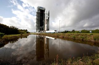 NASA's Magnetospheric Multi-Scale mission satellites and their Atlas V rocket are rolled out to the launch pad at Florida's Cape Canaveral Air Force Station ahead of a planned March 12, 2015 launch.