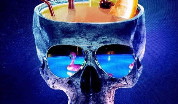 Into The Dark a skull holding a drink, with a pool reflected in its sunglasses