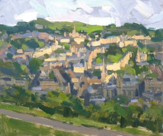 Oil painting of Bath city skyline