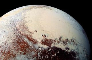 This view of Pluto's Sputnik Planitia nitrogen-ice plain was captured by NASA's New Horizons spacecraft during its flyby of the dwarf planet in July 2015.