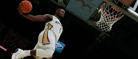 Zion Williamson dunking in NBA 2K22