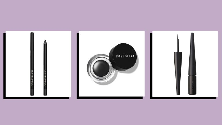 product shots of three of w&h best eyeliner picks on a lilac background