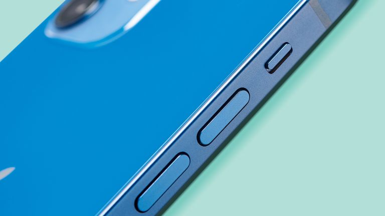 iPhone 12 in blue with buttons showing