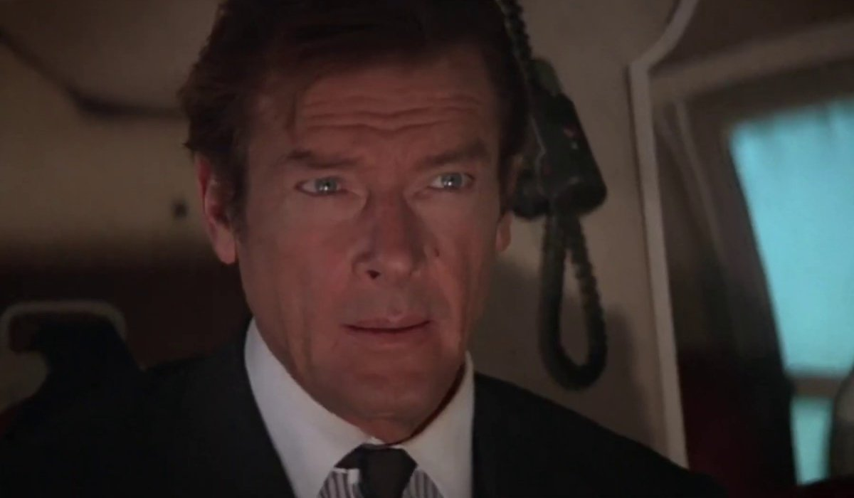 For Your Eyes Only Roger Moore pilots a helicopter