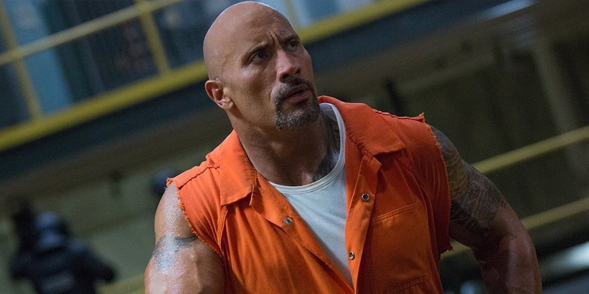 Luke Hobbs (Dwayne Johnson) stands in jail in a scene from 'Hobbs and Shaw'