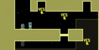 The word YES floats in the air in platformer VVVVVV