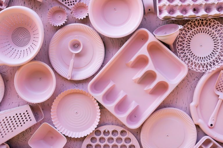 pink plastic kitchen items