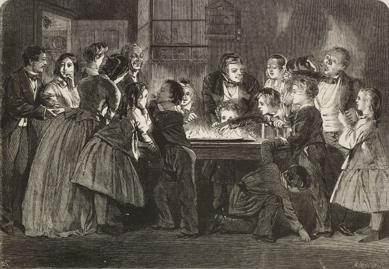 Victorian etching of parlour games