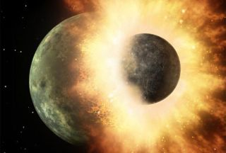 Artist's impression of the enormous collision that formed the moon.