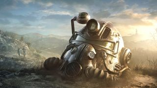 A pair of Vault Dwellers approach a discarded Power Armor helmet in Fallout 76.