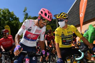 Primoz Roglic speaks to best young rider Dani Martinez of EF Pro Cycling