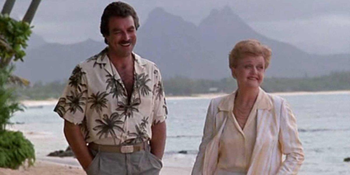 Tom Selleck and Angela Lansbury on Magnum P.I.