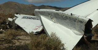 The remains of Virgin Galactic's SpaceShipTwo commercial space plane is seen in the Mojave Desert in this still from a video recorded by the National Transportation Safety Board on Nov. 1, 2014.