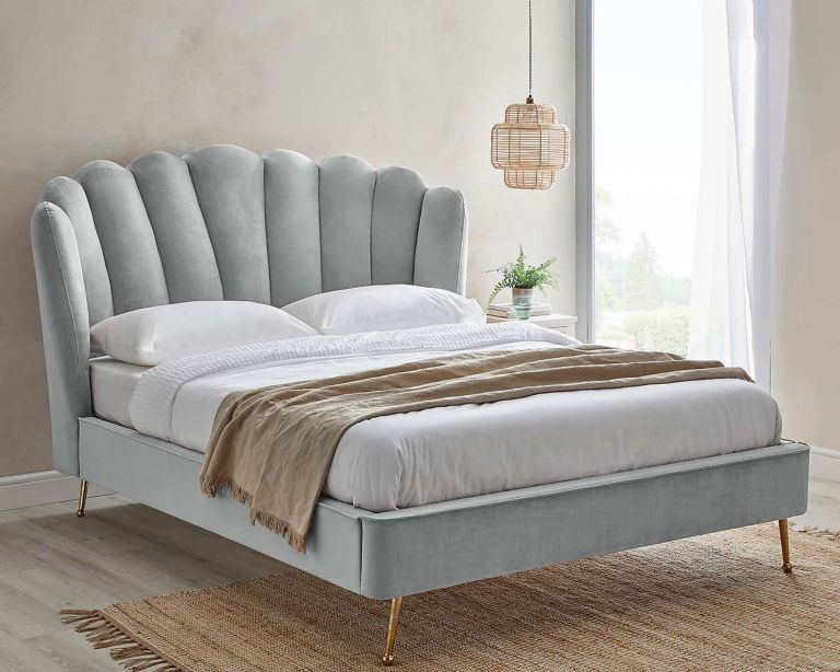 Dunelm Vivian Bed in room in grey, sitting on jute rug with white bedding and grey throw