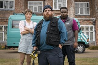 "Nick Frost as Gus (center) alongside Emma D'Arcy and Samson Kayo in ""Truth Seekers."""