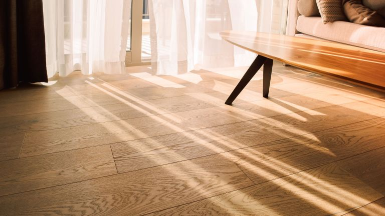 laminate floors with sun coming through the curtains, plus a table in the background