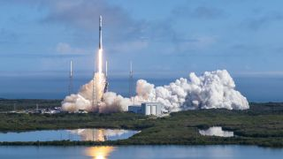 SpaceX launches Starlink satellites into orbit.