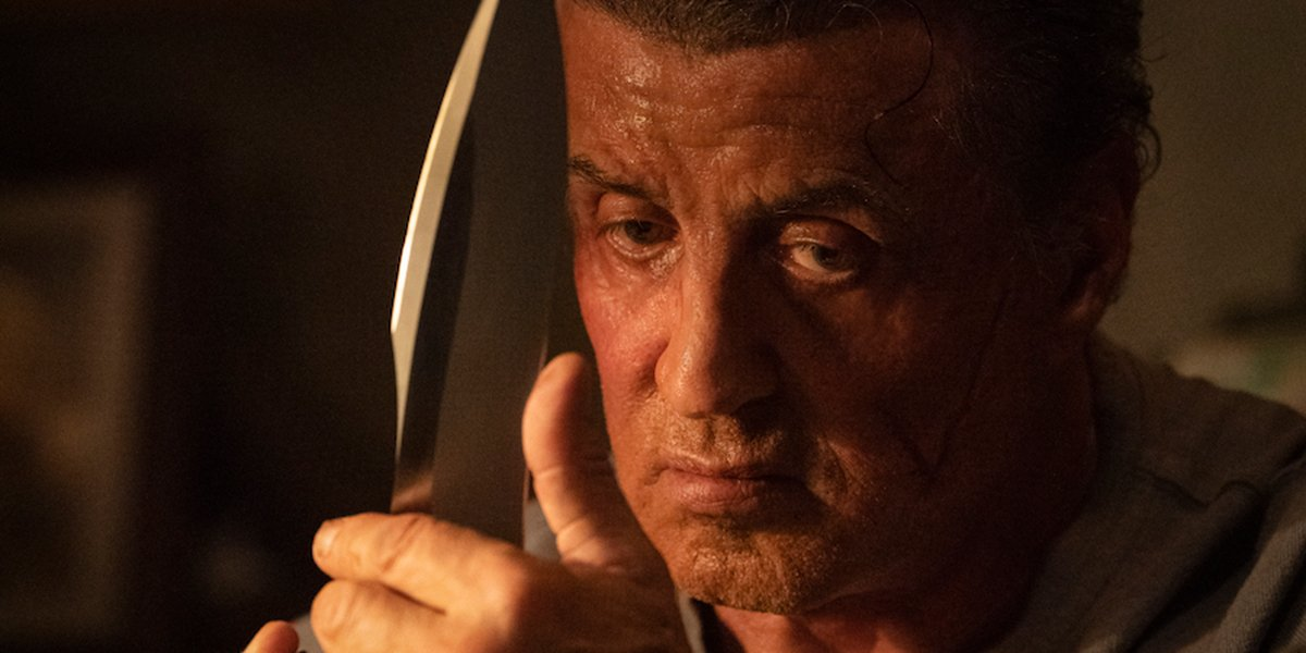 Rambo wielding a knife and thinking murderous thoughts