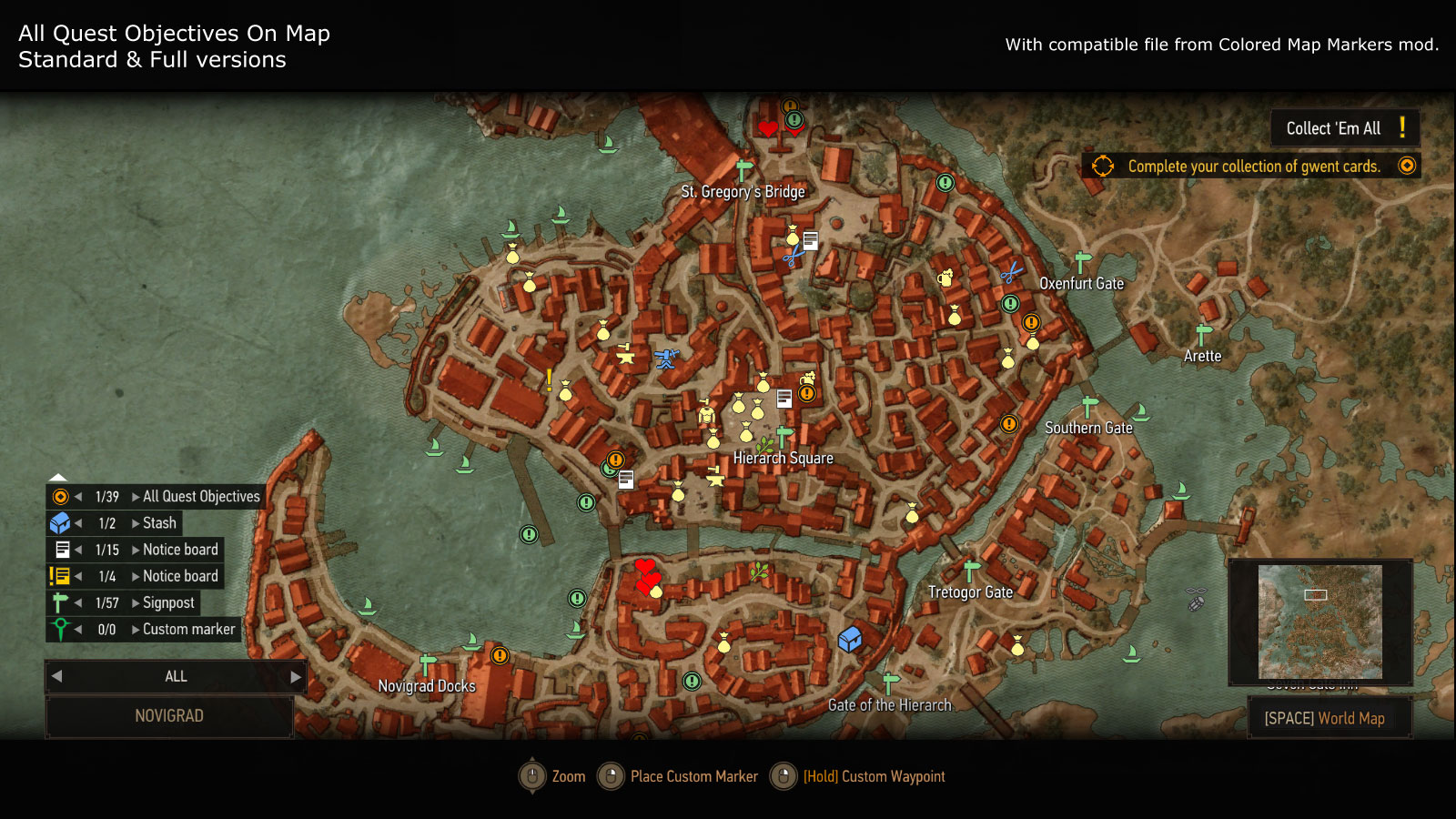 Best Witcher 3 Mods - Quest objectives on map