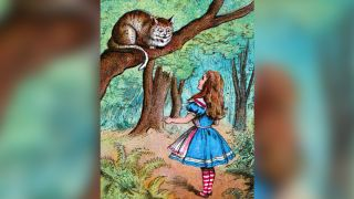'Alice and the Cheshire Cat', c1910. From Alice in Wonderland, by Lewis Carroll.