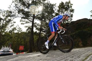 MIRADOR DE ZARO DUMBRA SPAIN NOVEMBER 03 Anthony Roux of France and Team Groupama FDJ during the 75th Tour of Spain 2020 Stage 13 a 337km Individual Time Trial stage from Muros to Mirador de zaro Dumbra 278m ITT lavuelta LaVuelta20 La Vuelta on November 03 2020 in Mirador de zaro Dumbra Spain Photo by David RamosGetty Images