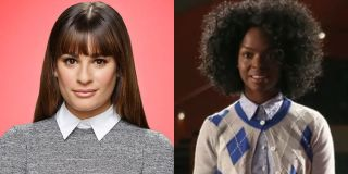 Glee side by side of Lea Michele and Samantha Ware