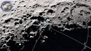 An image captured by NASA's Lunar Reconnaissance Orbiter shows areas scientists suspect to be covered with frost.