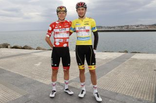 Brandon McNulty (R) has the distinct advantage of having Tour de France winner Tadej Pogacar (R) at his side in the Itzulia Basque Country