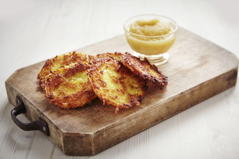Potato Latkes on a wooden block