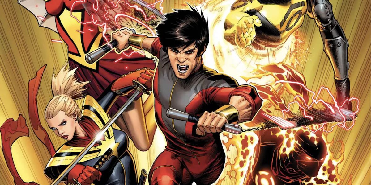 An illustration from Marvel Comics shows Shang-Chi wielding nunchucks.