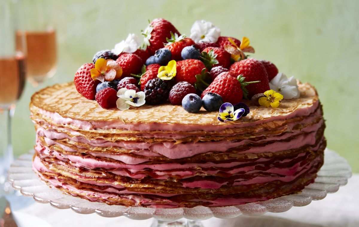 Try this incredible stacked strawberry crepe cake with cream for the perfect summer treat