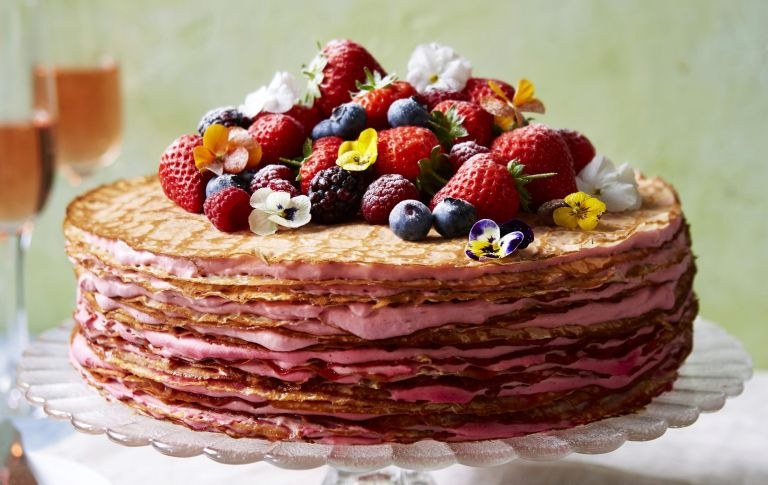 Crepe cake with strawberry cream
