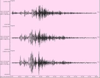The Magnitude 8.9 Earthquake East of Honshu on 11/3/11 as recorded on a SEIS-UK seismometer in the University of Leicester's Department of Geology. The three traces measure movement of the Earth's surface in the vertical, north-south and east-west directi