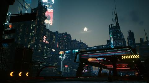 A shot of Night City at night
