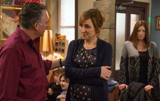 Basic instinct… Harriet suspects something is going on between secret love-cheats Laurel and Bob