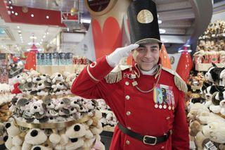 A man in toy soldier uniform