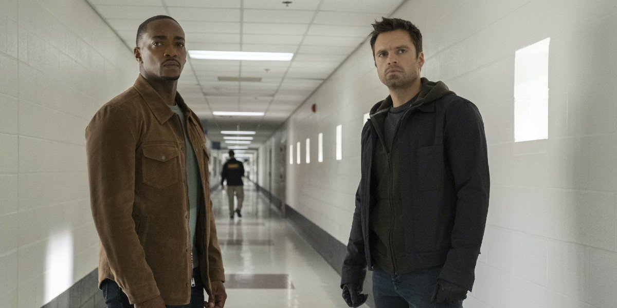 Sam Wilson (Anthony Mackie) and Bucky Barnes (Sebastian Stan) stare off in The Falcon and the Winter Soldier (2021)